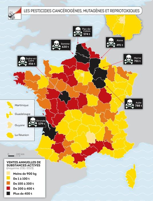 Carte des pesticides en France