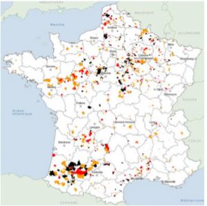 Cartographie des zones touchées par les nitrates
