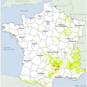 Cartographie des zones concernées par les contaminations bactériennes