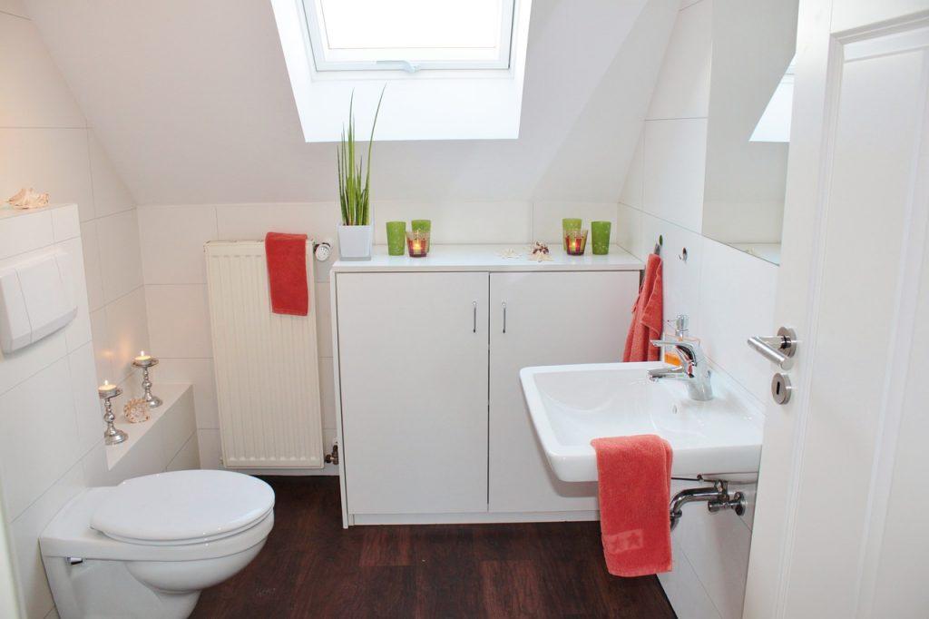 salle de bain avec puits de lumière